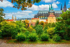Prague landscape with Saint Vitus Cathedral. Prague autumn landscape view to Saint Vitus Cathedral royalty free stock photo