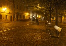 Prague - The little square of Mala Strana at night stock photos
