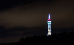 Prague Lookout Tower (also called small Eiffel Tower) on Petrin hill with the night illumination Stock Images