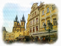 Prague made in watercolor style Royalty Free Stock Images