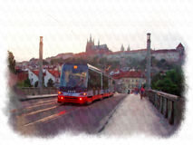 Prague made in watercolor style Stock Image