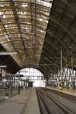 Prague main railway station. Steel historic hall Stock Photos