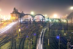 Prague main railway station in foggy autumn night royalty free stock image