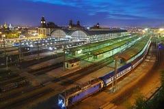 Prague main railway station. Main railway station in Prague in the summer evening Royalty Free Stock Image