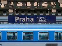 Free Prague Main Station And A Train Of The Czech Railways Royalty Free Stock Photo - 150839195