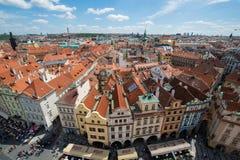 Prague - MAJ 9, 2014: Gammal stadfyrkant på Maj 9 in Arkivfoton