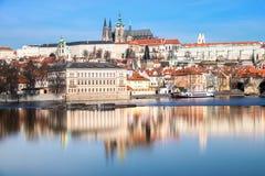 Prague, Mala Strana and Prague Castle with reflection Royalty Free Stock Photo