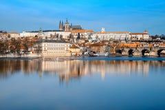 Prague, Mala Strana and Prague Castle with reflection Royalty Free Stock Photography