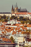 Prague, Mala Strana and Prague Castle, toned image Royalty Free Stock Photos
