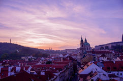 Prague Mala Strana sunset Stock Images