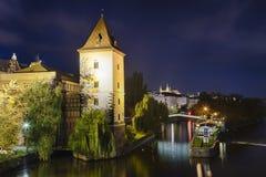 Prague Malostranska Water Tower. In the night Stock Photos