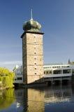 Prague - Manes gallery. Sitkovska water tower (renaissance) on Moladu river and Manes gallery (constructivism) in New Town, Prague, Czech republic, Europe Stock Photo