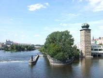 Prague Manes Tower royaltyfria bilder