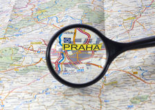 Prague on the map Stock Photos