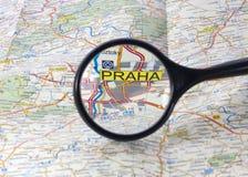 Prague on the map stock photos