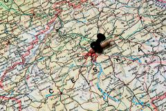 Prague on a map Stock Photos
