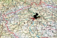 Prague on a map Stock Image
