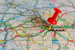 Prague on map. Red push pin on a map in Prague & x28;Praha& x29 Stock Photos