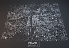 Prague map, satellite view, Czech Republic Royalty Free Stock Images