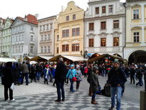 Prague market and street full of people and tourists Stock Photography