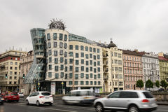 Prague. MAY 24: Nationale - Nederlanden Building also known as The Dancing House or Fred and Ginger - designed by Frank Gehry and Vlado Milunic at May 24 Stock Photos