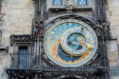The Prague medieval astronomical clock. The famous Prague medieval astronomical clock. Front view Stock Photos