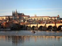 Prague Medieval Bridge. Beautiful view of a medieval bridge in Prague royalty free stock photography