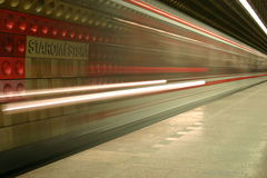 Prague Metro Blur. Time lapse shot of a train coming into a metro station in Prague, Czech Republic Stock Images