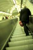Prague metro- Czech Republic. Interior escalator of the Prague underground metro- Czech Republic, motion blur royalty free stock images