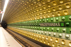 Prague Metro Station. Malostranská is a metro station of Prague`s Line A. It opened in 1978 as the entire Dejvicka Leninova — Namesti Miru Line. This station Stock Photography