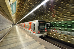 Prague Metro. Station malostranska of the Prague Metro, which is a rapid transit network of Prague, Czech Republic Royalty Free Stock Photo