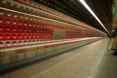 Prague Metro Time Lapse. Time lapse shot of a train approaching the station in the Prague Metro, Czech Republic Stock Photography