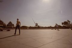 Prague metronom view with skateboarding young man at Letna district Royalty Free Stock Image