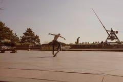 Prague metronom view with skateboarding young man at Letna district Stock Image