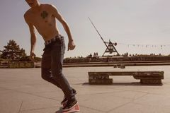 Prague metronom view with skateboarding young man at Letna district Royalty Free Stock Photos