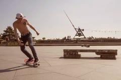 Prague metronom view with skateboarding young man at Letna district Stock Photo