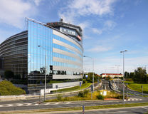Prague, Modern Architecture. Prague Polygon House – a modern office building with ship-like shape and glass facade Stock Images