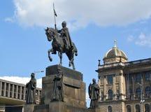 Prague. Monument to Saint Václav against the National museum Stock Photos