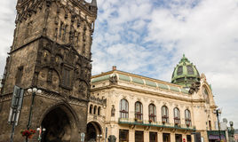 Prague Municipal House and Power Tower Royalty Free Stock Photos