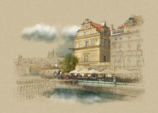 Prague, the Museum in the city center, vintage graphics on old paper, watercolor sketch. Prague, the Museum in the city center Royalty Free Illustration