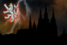 Prague - mysterious city. Prague casle - Cathedral of St Vitus - monuments of mysterious city - state coat of arms Royalty Free Stock Image