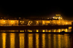 The Prague National Theater,night Vltava river Royalty Free Stock Photos