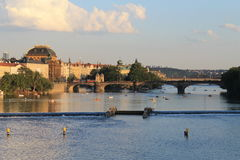 Prague - National theatre. National theatre in Prague, view from the Vltava river Stock Photos