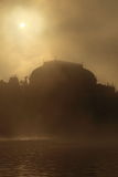 Prague National theatre in mist Stock Images