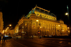 Prague national theatre night Stock Photos