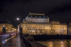 Prague National Theatre at night Royalty Free Stock Photography