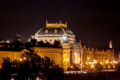 PRague National Theatre at night. National Theatre view from Charles Brifge royalty free stock photos