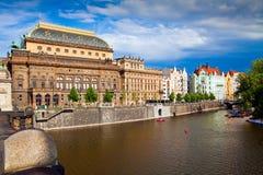Prague Nationalteater Arkivfoto