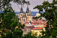 Prague in natural frame made from leaves - Czech Republic Stock Photography