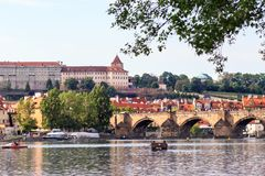 Prague in natural frame made from leaves - Czech Republic Stock Images